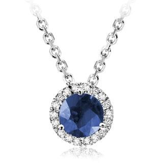 10k White Gold Round Blue Saphire Diamond Martini Pendant