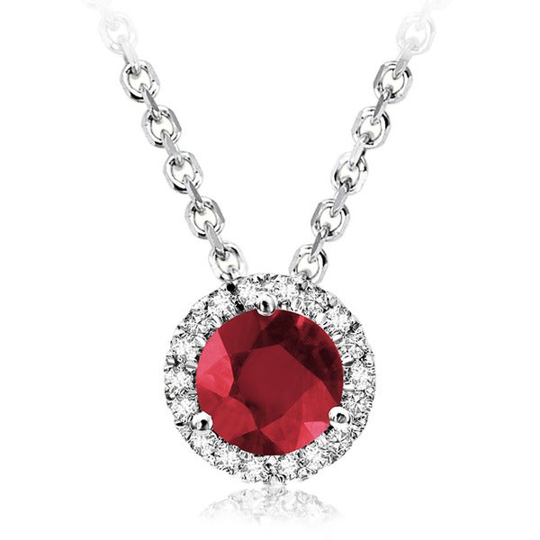 10k White Gold Round Ruby Diamond Martini Pendant