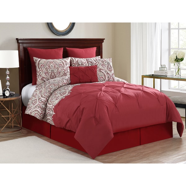 Elanza Red Paisley Pintuck 10-piece Comforter Set