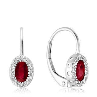 10k White Gold Oval Ruby and Diamond Accent Earrings