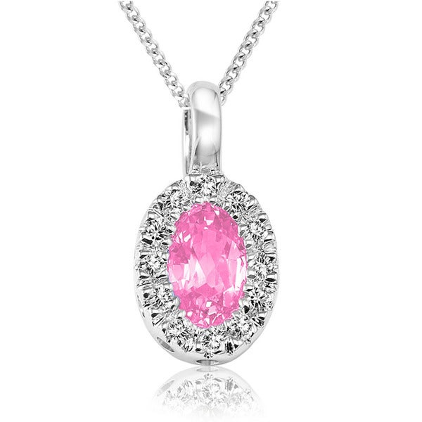 10k White Gold Oval Synthetic Pink Quartz Diamond Accent Pendant
