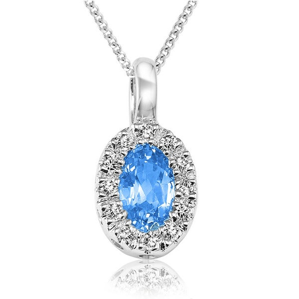 10k White Gold Oval Blue Topaz Diamond Accent Pendant