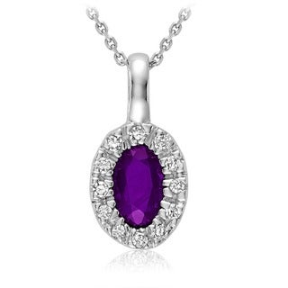 10k White Gold Oval Amethyst Diamond Accent Pendant