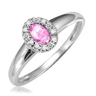 10k White Gold Oval Synthetic Pink Quartz Diamond Accent Ring (Size 6.5)