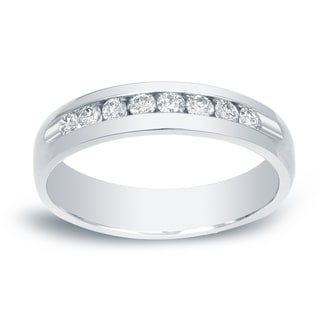Auriya 14k Gold 1/6ct TDW Round-Cut Diamond Channel Band (H-I, SI1-SI2)