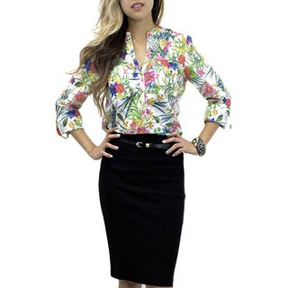Relished Women's Midspring Lilies Henley Blouse