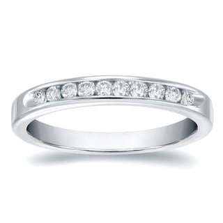 Auriya 14k Gold 1/10ct TDW Round-Cut Diamond Channel Band (H-I, SI1-SI2)