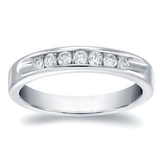 Auriya 14k Gold 3/4ct TDW Round-Cut Diamond Channel Band (H-I, SI1-SI2)