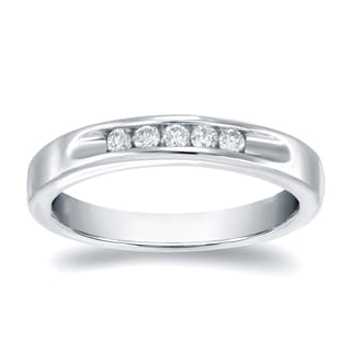 Auriya 14k Gold 1/4ct TDW Round-Cut Diamond Channel Band (H-I, SI1-SI2)