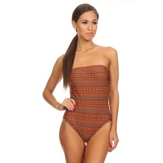 Dippin' Daisy's Brown and Navy Strapless One-Piece Swimsuit