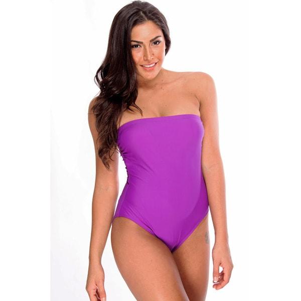 Dippin' Daisy's Purple Bandeau One-Piece Swimsuit
