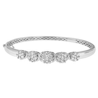 Nature Inspired 14k White Gold 2 1/2ct TDW Diamond Floral Bangle (H-I,SI1-SI2)