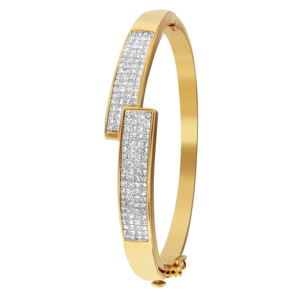14k Yellow Gold 3.42 Ctw Princess Cut Diamond Belt Buckle Bangle (H-I,SI1-SI2)