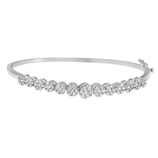 Floral Inspired 14k White Gold 2 5/8ct TDW Round Cut Diamond Bangle (H-I,SI1-SI2)