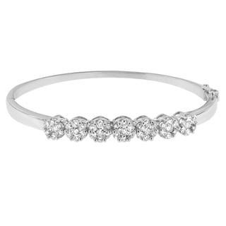 Floral Inspired 14k White Gold 3 1/3ct DTW Round and Princess Cut Diamond Bangle (H-I,SI1-SI2)