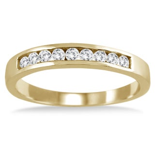 Marquees Jewels 10k Yellow Gold 1/4ct Channel Diamond Ring (I-J, I2-I3)