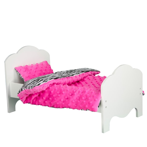Teamson Kids Little Princess 18-inch Doll Single Bed and Bedding Set Zebra Prints