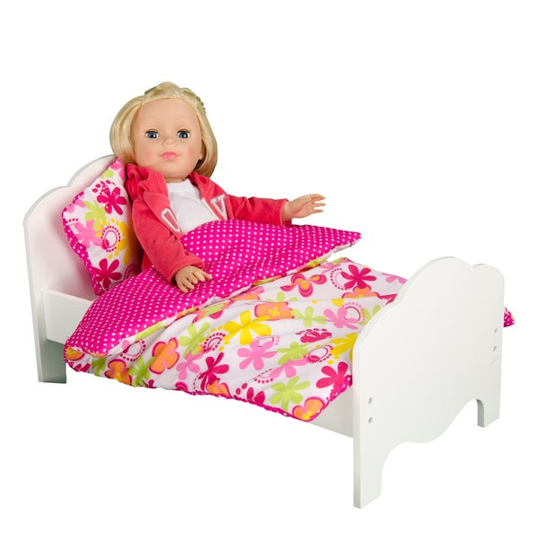 Teamson Kids Little Princess 18-inch Doll Single Bed and Bedding Set Summer Flowers