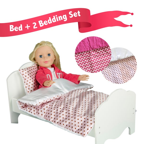 Teamson Little Princess 18-inch Doll Single Bed with 2-piece Bedding Set