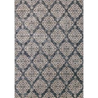 Cappella Floral Diamonds Blue Area Rug (2'2 x 10'10)