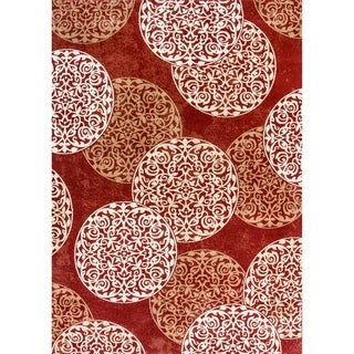 Cappella Floral Circles Red Area Rug (2'2x10'10)