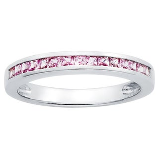 Boston Bay Diamonds Love Lock 14k White Gold and Pink Sapphire Wedding Band