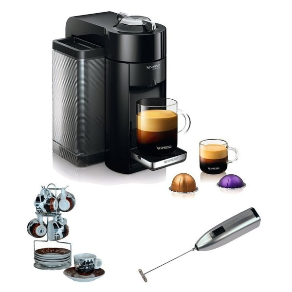 Nespresso Vertuoline Evoluo Deluxe GCC1 + Cup and Saucer w/ Wire Rack + Frother
