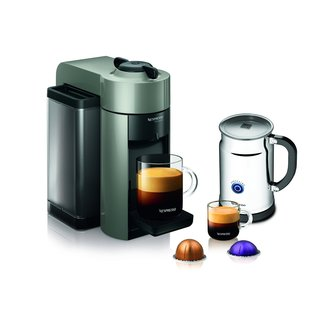 Nespresso A+GCC1-US-GR-NE Grey VertuoLine Evoluo Coffee & Espresso Maker + Aeroccino Plus Milk Frother