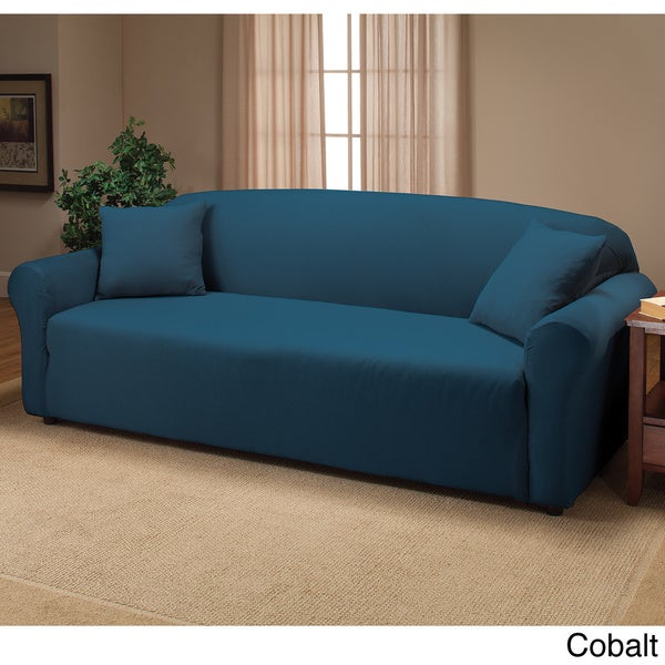 Stretch Jersey Sofa Slipcover in Blue (As Is Item)