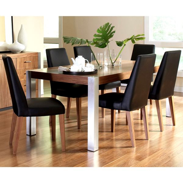 Agusta Modern Medium Walnut Dining Set with Stainless Steel Legs