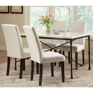 Ramiro Dark Rustic Metal with Marble-like Table Top 5-piece Dining Set