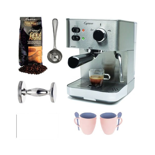 Capresso EC PRO Espresso/Cappuccino Machine + Grand Aroma Whole Bean Espresso, Coffee Measure + Tamper (CD) + (2) Coffee Mugs
