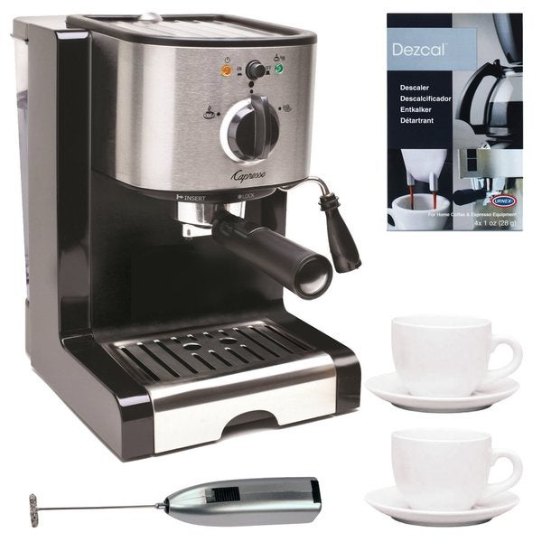 Capresso Pump Espresso and Cappuccino Machine Bundle + Knox Milk Frother, Descaler + Tiara Cup/Saucer (2-Pack) 16592275