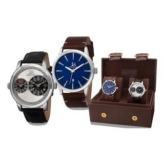 Joshua & Sons Men's Quartz Multifunction Dual Time Leather Silver-Tone Strap Watch