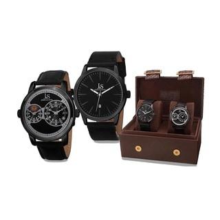 Joshua & Sons Men's Quartz Multifunction Dual Time Leather Strap Watch