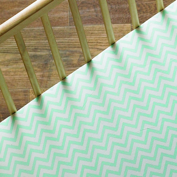 Lolli Living Aqua Chevron Fitted Sheet