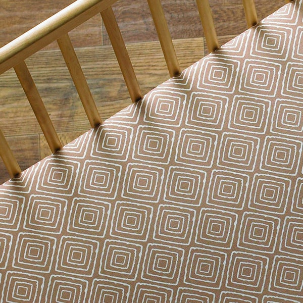 Lolli Living Taupe Maze Fitted Crib Sheet