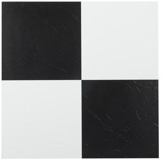 Tivoli Black & White 12x12 Self Adhesive Vinyl Floor Tile - 45 Tiles/45 sq Ft.