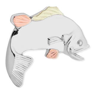 Black Hills 12k Tri-color Gold over Silver Fish Tie Tack