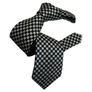 Dmitry Men's Grey Patterned Italian Silk Tie