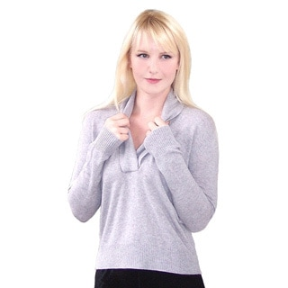 Dolores Piscotta Women's Shawl Collar Cashmere Pullover Sweater