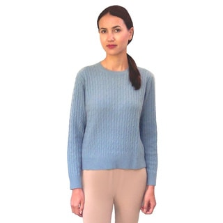 Dolores Piscotta Women's Cashmere Cable Crew Neck Sweater
