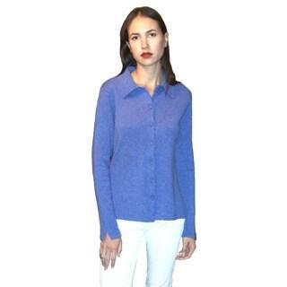 Dolores Piscotta Women's Cashmere Polo Collar Cardigan