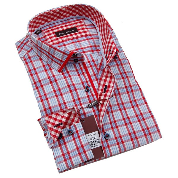 Gianni Lorenzo Mens Blue and Red Plaid Dress Shirt