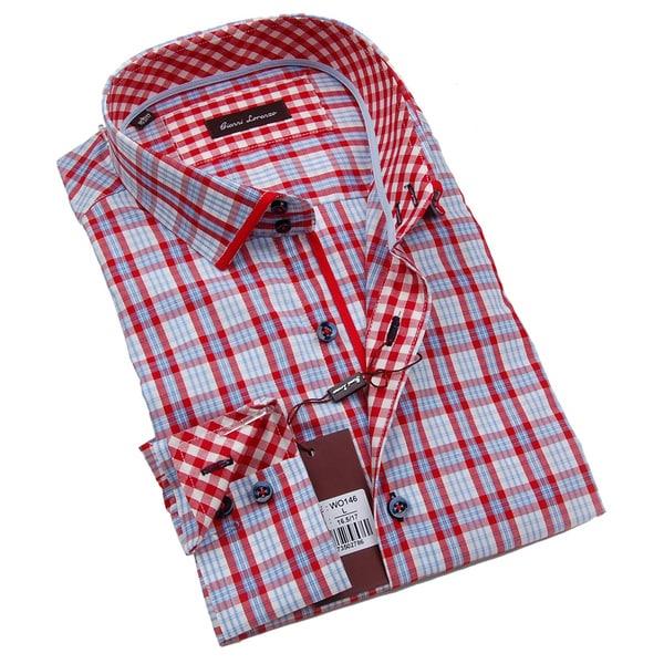 Gianni Lorenzo Mens Blue and Red Plaid Dress Shirt