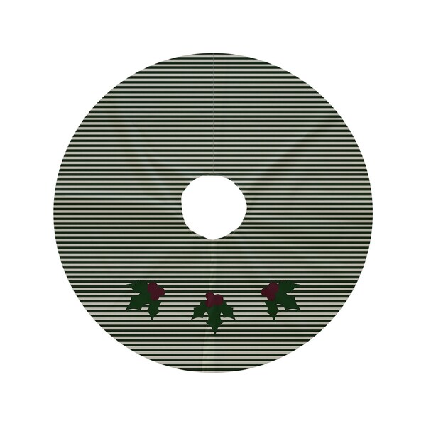 Round Holiday Decorative Stripe Print Tree Skirt