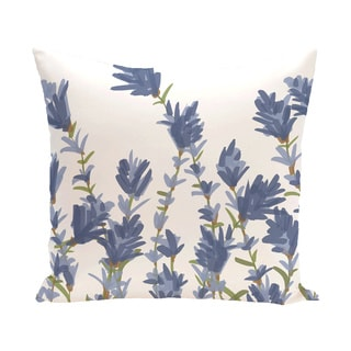 Lavender Floral Print Outdoor 18-inch Pillow
