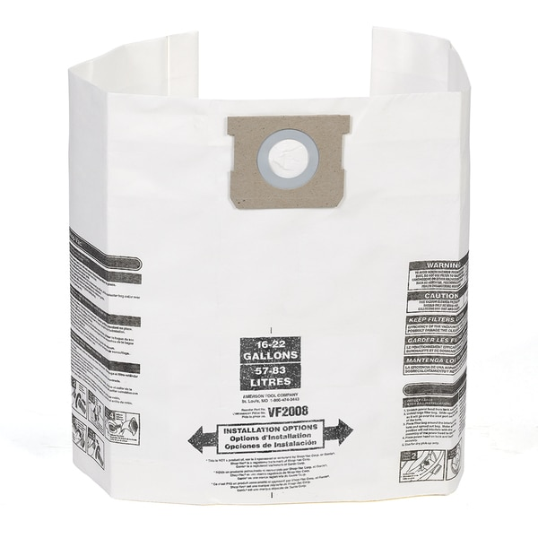 Multi-Fit VF2008 General Dust Filter Bag for 15-22 gallon Shop Vacuum (6-pack)