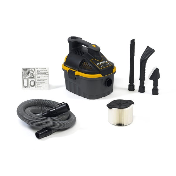 WORKSHOP Wet Dry Vacs WS0401VA Portable Wet Dry Shop Vacuum with Car Cleaning Kit, 4 Gallon, 5.0 Peak HP