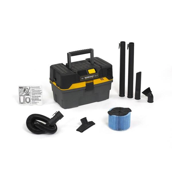 Workshop Wet Dry Vacs WS0450VA Compact and Portable Contractor Tool Box Wet Dry Shop Vacuum, 4.5 Gallons, 5.0 Peak HP